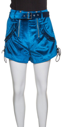 Self-Portrait Peacock Blue Velvet Lace-up Cuff Belted High Waist Shorts S
