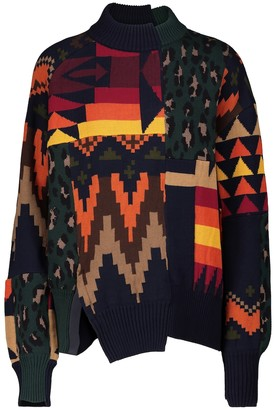Sacai Patchwork cotton-blend sweater