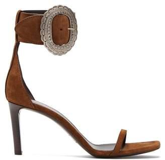 Saint Laurent Joplin Suede Sandals - Womens - Tan