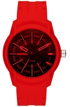 Diesel Men's Armbar Red Silicone Strap Watch 45mm DZ1820