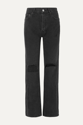 RE/DONE The High Rise Loose Distressed Jeans - Black