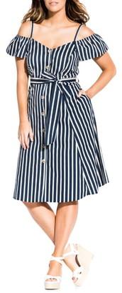 City Chic Stripe Affair Cold Shoulder Stretch Cotton Dress