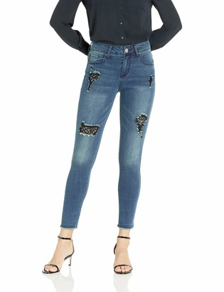 Seven7 Women's Skinny Jean with Black Lace and Fray Hem