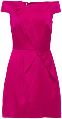 Roland Mouret Off-the-shoulder Pleated Satin-crepe Mini Dress