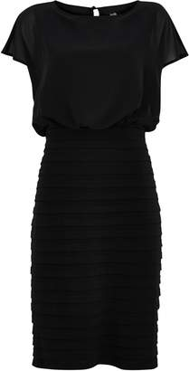 Wallis Black Fitted Tiered Detail Dress