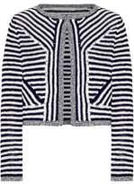 Diane von Furstenberg Metallic-Trimmed Two-Tone Cotton Cardigan