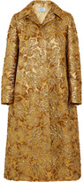 Prada Hooded metallic floral-jacquard coat