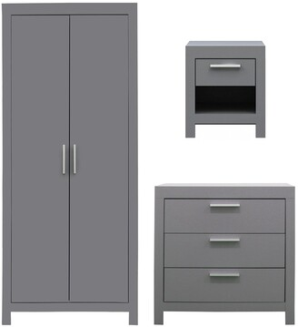 Cuba 3 Piece Package - 2 Door Wardrobe, 3 Drawer Chest and 1 Drawer Bedside Chest