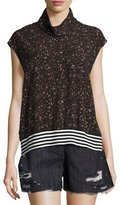 Public School Zada Mock-Neck Cap-Sleeve Top, Black