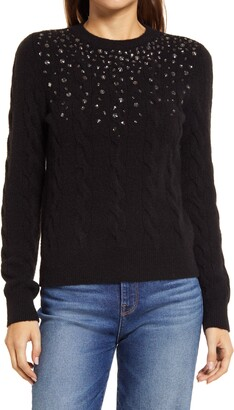 Halogen Embellished Cable Sweater