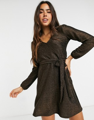 Vila tie waist mini dress in brown