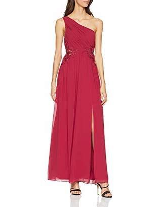 Little Mistress Women's Nadja Red One Shoulder Maxi Dress with Lace Cocktail Plain Asymmetric Sleeveless Dress,(Manufacturer Size:)