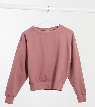 ASOS DESIGN Petite super soft cropped batwing sweatshirt in mink