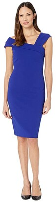 Vince Camuto Asymmetrical Neck Bodycon Dress (Cobalt) Women's Dress