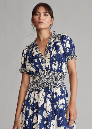 Ralph Lauren Pleated Floral-Print Dress
