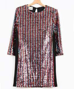 Dixie Multi Color Adpmhbl Sequinned Dress - SMALL - Red/Blue/Black