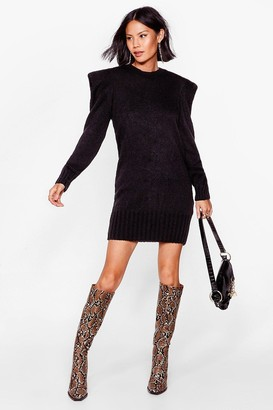 Nasty Gal Womens Power Up Knitted Mini Dress - Black