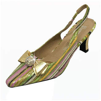 Whittall & Shon Womens Rainbow Slingback Pumps Closed Toe Cone Heel