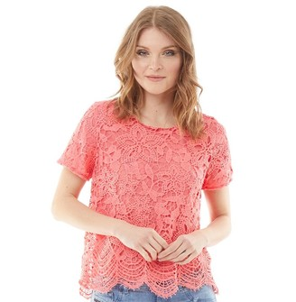 Onfire Womens Lace Blouse Coral