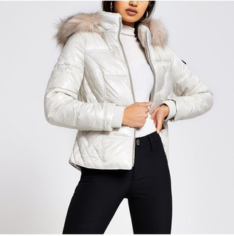 River Island Fitted Padded Jacket - Cream