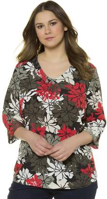 Ulla Popken Floral Printed Round-Neck Blouse with 3/4 Length Sleeves