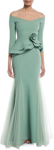 Chiara Boni Reo Lady Peplum Godet Mermaid Gown