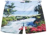 Orlebar Brown Bulldog Mid-length Printed Swim Shorts - Light blue