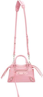 Balenciaga Pink Croc Mini Neo Classic Top Handle Bag
