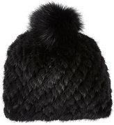 Barneys New York Women's Mink & Fox Fur Knit Beanie-BLACK