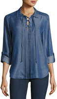 Velvet Heart Bridgette Chambray Lace-Up Top, Indigo