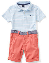 Nautica Litlle Boys 2T-4 Striped Short-Sleeve Polo Shirt and Shorts Set