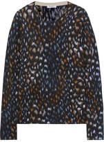 Equipment Sloane Leopard-print Cashmere Sweater - Black