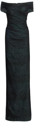 Teri Jon By Rickie Freeman Off-the-Shoulder Metallic Column Gown
