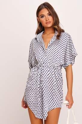 I SAW IT FIRST White Geometric Print Shirt Dress
