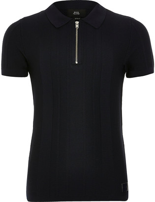 River Island Boys navy half zip knitted polo shirt