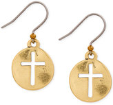 Lucky Brand Gold-Tone Hammered Disc Cross Drop Earrings