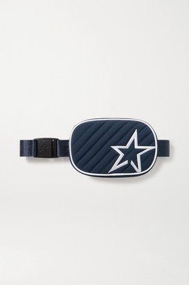 Perfect Moment Star Canvas-trimmed Embroidered Quilted Shell Belt Bag - Midnight blue