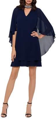 Xscape Evenings Embellished Cape-Sleeve A-Line Dress