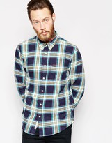 Lee Regular Fit Shirt Slub Twill Check In Navy