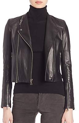 Alice + Olivia Women's Gamma Leather Moto Jacket