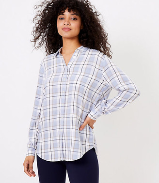LOFT Plaid Tunic Shirt