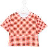 Marni cropped grid print T-shirt - kids - Cotton - 4 yrs