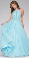Jovani A-Line Embellished Tulle Halter Prom Dress