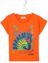 Moschino Kids peacock print T-shirt