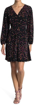 London Times Retro Dot Crepe Jersey Long Sleeve Fitted Dress