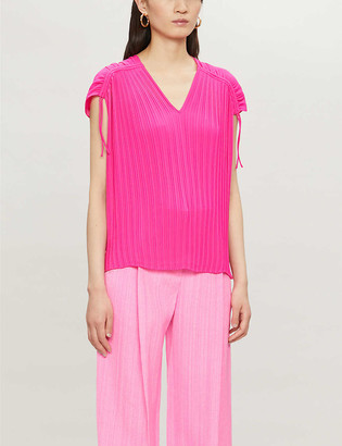 Ted Baker Chasta tie-shoulder pleated crepe top