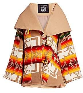 Lindsey Thornburg Women's Geometric-Print Woven-Wool Trench Cloak