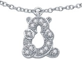 Lafonn Platinum Plated Sterling Silver Simulated Diamond Micro Pave Dangle Teddy Bear Anklet