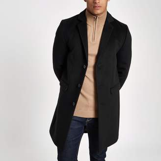 River Island Mens Black single breasted overcoat