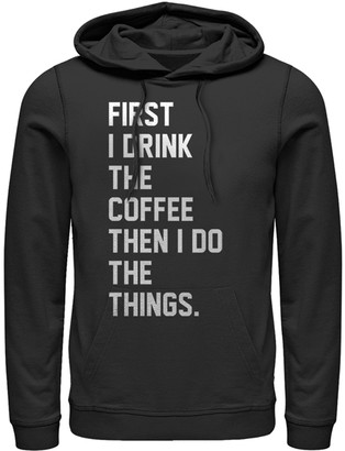 Fifth Sun Women's Sweatshirts and Hoodies BLACK - Black 'First I Drink Coffee Then I Do Things' Hoodie - Women, Juniors & Plus